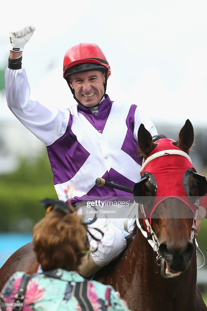 Glen Boss riding Ocean Park wins the Cox Plate race during Cox Plate Day at Moonee Valley Racecourse on October 27, 2012 in Melbourne, Australia.