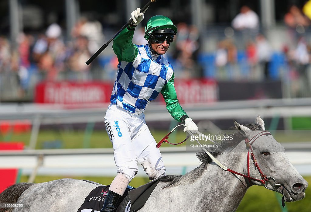 <a gi-track='captionPersonalityLinkClicked' href=/galleries/search?phrase=Glen+Boss&family=editorial&specificpeople=194758 ng-click='$event.stopPropagation()'>Glen Boss</a> riding Puissance de Lune celebrates winning the Queen Elizabeth Stakes during 2012 Emirates Stakes Day at Flemington Racecourse on November 10, 2012 in Melbourne, Australia.