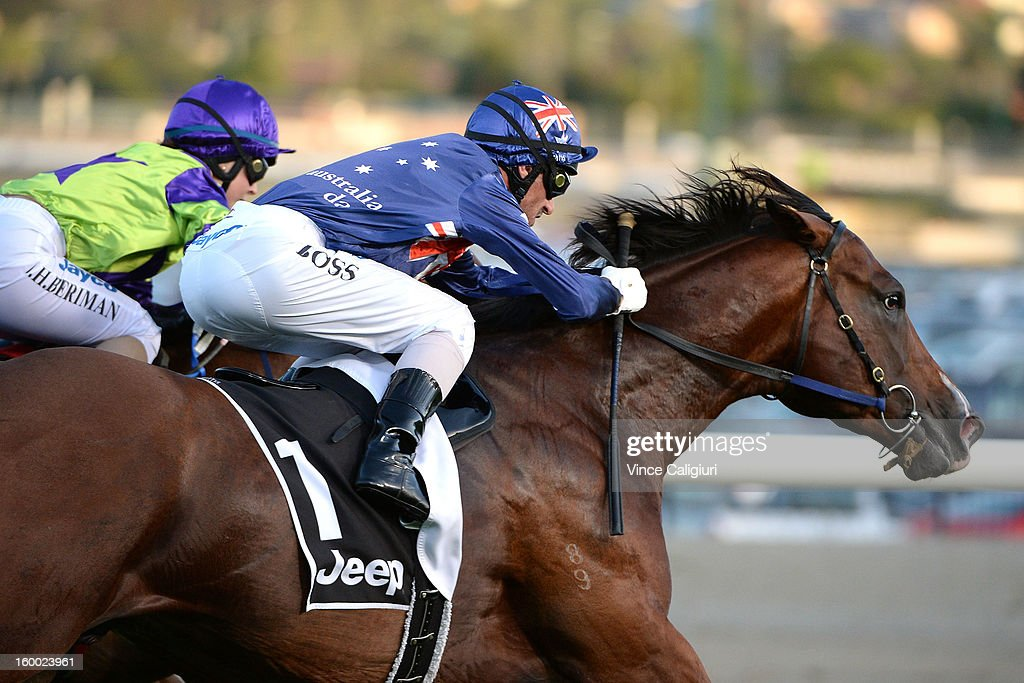 Glen Boss riding Shamexpress races to win the Chadler Macleod Premium Handicap during Melbourne racing at Moonee Valley Racecourse on January 25, 2013 in Melbourne, Australia.