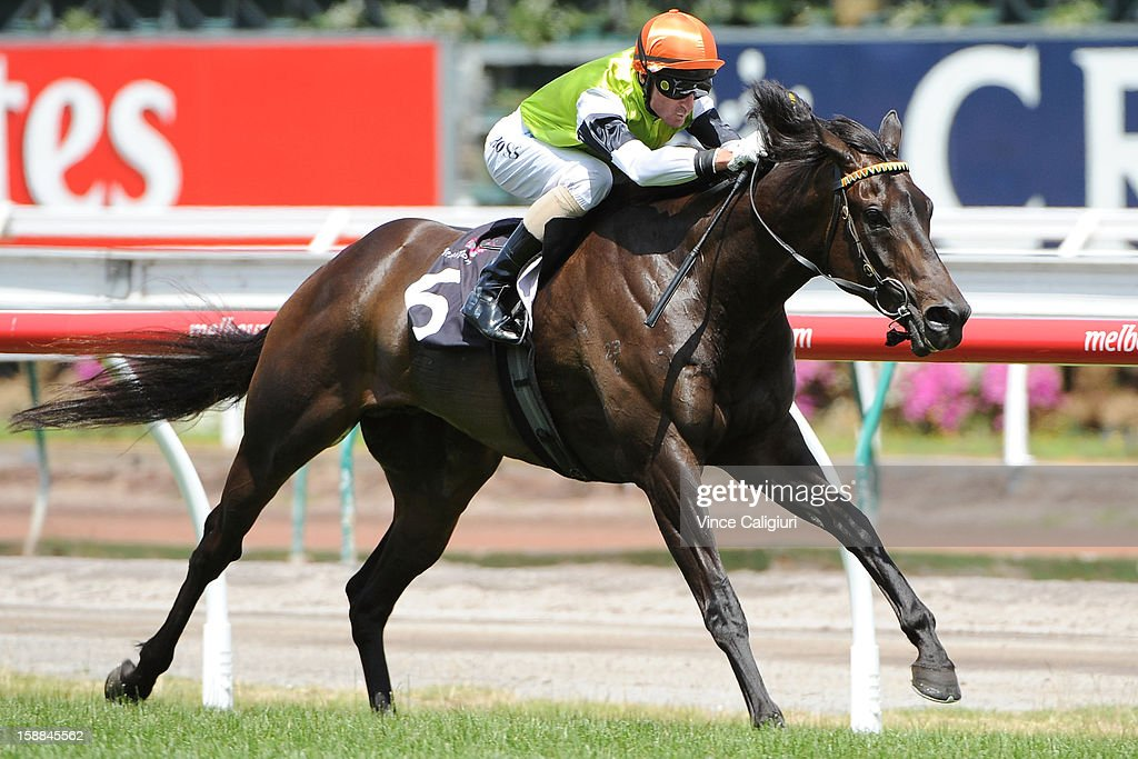 <a gi-track='captionPersonalityLinkClicked' href=/galleries/search?phrase=Glen+Boss&family=editorial&specificpeople=194758 ng-click='$event.stopPropagation()'>Glen Boss</a> riding Tuscan Fire wins the Byron Moore Handicap during Melbourne Racing at Flemington Racecourse on January 1, 2013 in Melbourne, Australia.