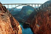 View from Glen Canyon Dam,shadow, arch bridge and  beautiful Colorado River,lens flare, Arizona, USA.Nikon D3x
