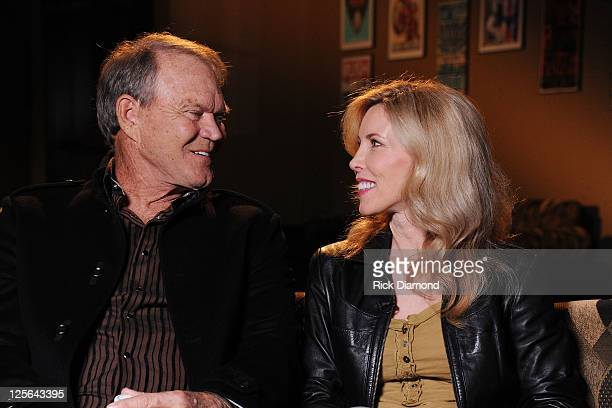 Glen Campbell and Kim Woollen sit down for an interview with CMT at the Bridgestone Arena on September 19 2011 in Nashville Tennessee