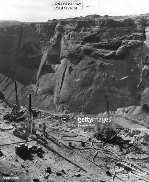 Glen Canyon Bridge Dam Work Under Way On Large Scale Drilling crews bore blasting holes down through sandstone on the 'keyway' or top corner of Glen...