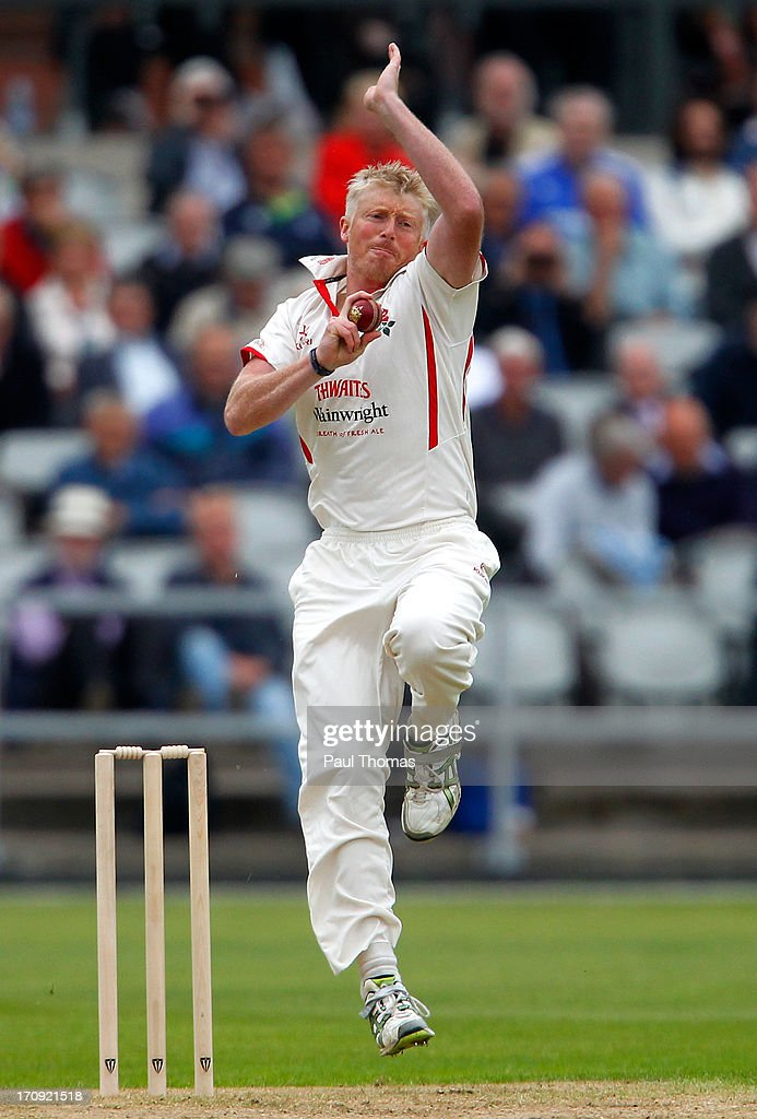 Glen Chapple of Lancashire bowls during day one of the LV County Championship Division Two match between Lancashire and Northamptonshire at Old Trafford on June 20, 2013 in Manchester, England.
