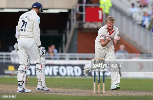 Glen Chapple of Lancashire celebrates after taking the wicket of Toby RolandJones of Middlesex during the LV County Championship match between...