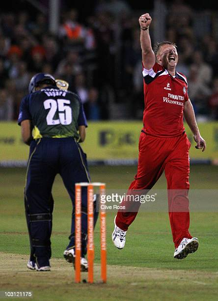 Glen Chapple of Lancashire celebrates the wicket of Ravi Bopara of Essex during the Friends Provident T20 match between Essex and Lancashire on July...