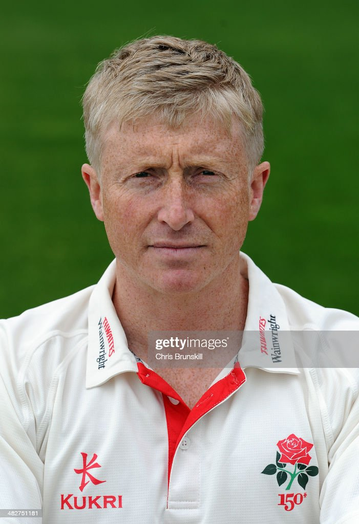 Glen Chapple of Lancashire during the Lancashire County Cricket Club photocall at Old Trafford on April 04 2014 in Manchester England