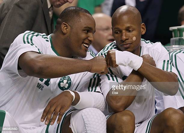 Glen Davis and Ray Allen of the Boston Celtics celebrate the win over the Miami Heat during Game Two of the Eastern Conference Quarterfinals of the...