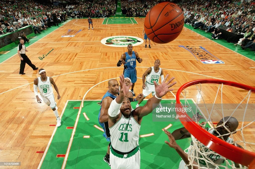 Glen Davis #11 of the Boston Celtics goes after a loose ball in Game Four of the Eastern Conference Finals against the Orlando Magic during the 2010 NBA Playoffs on May 24, 2010 at TD Garden in Boston, Massachusetts. The Magic won 96-92.