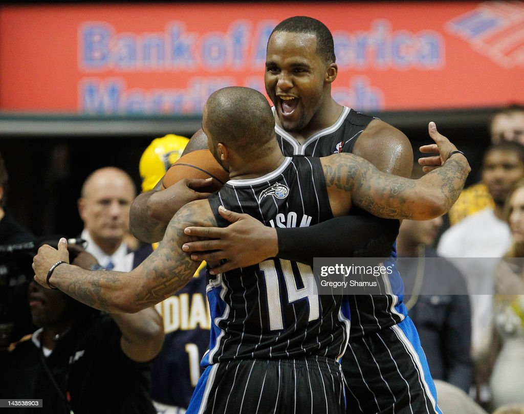 <a gi-track='captionPersonalityLinkClicked' href=/galleries/search?phrase=Glen+Davis+-+Basketball+Player&family=editorial&specificpeople=709385 ng-click='$event.stopPropagation()'>Glen Davis</a> #11 of the Orlando Magic celebrates a 81-77 victory over the Indiana Pacers with <a gi-track='captionPersonalityLinkClicked' href=/galleries/search?phrase=Jameer+Nelson&family=editorial&specificpeople=202057 ng-click='$event.stopPropagation()'>Jameer Nelson</a> #14 in Game One of the Eastern Conference Quarterfinals during the 2012 NBA Playoffs on April 28, 2012 at Bankers Life Fieldhouse in Indianapolis, Indiana.
