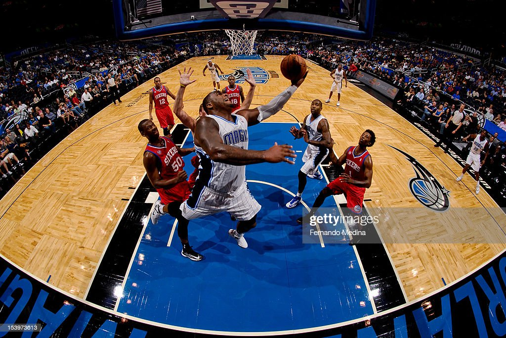 <a gi-track='captionPersonalityLinkClicked' href=/galleries/search?phrase=Glen+Davis+-+Basketball+Player&family=editorial&specificpeople=709385 ng-click='$event.stopPropagation()'>Glen Davis</a> #11 of the Orlando Magic goes to the basket against the Philadelphia 76ers during a pre-season game on October 11, 2012 at Amway Center in Orlando, Florida.