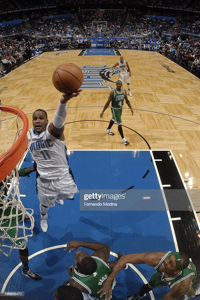 <a gi-track='captionPersonalityLinkClicked' href=/galleries/search?phrase=Glen+Davis+-+Basketball+Player&family=editorial&specificpeople=709385 ng-click='$event.stopPropagation()'>Glen Davis</a> #11 of the Orlando Magic goes to the basket during the game between the Boston Celtics and the Orlando Magic on November 25, 2012 at Amway Center in Orlando, Florida.