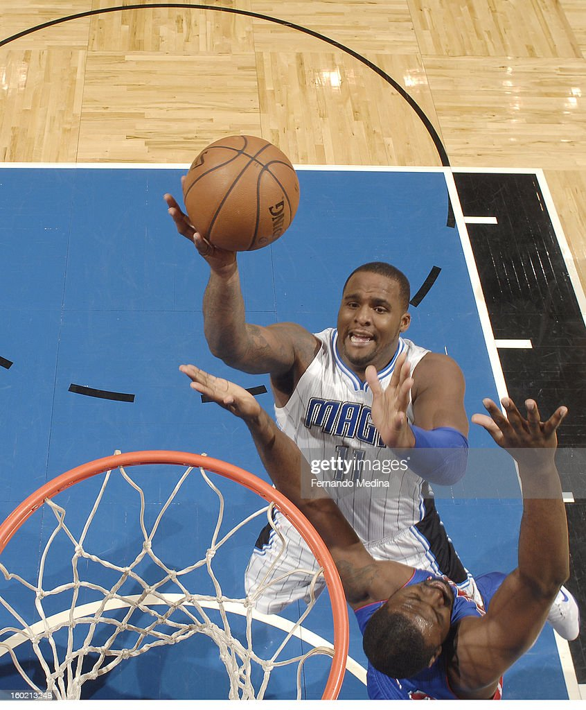 Glen Davis #11 of the Orlando Magic goes to the basket during the game between the Detroit Pistons and the Orlando Magic on January 27, 2013 at Amway Center in Orlando, Florida.