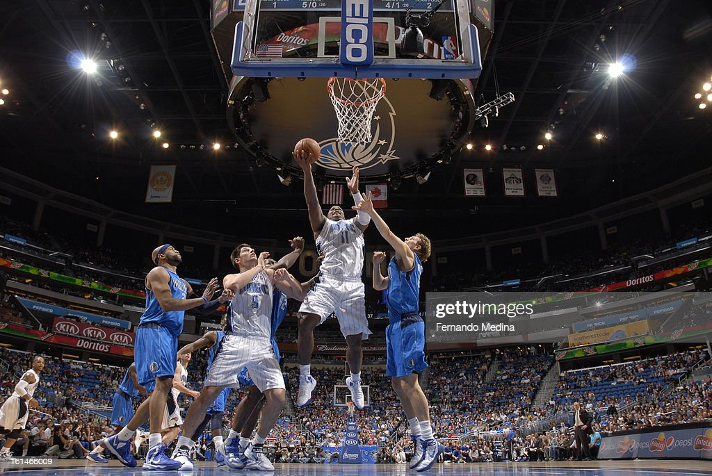 <a gi-track='captionPersonalityLinkClicked' href=/galleries/search?phrase=Glen+Davis+-+Basketball+Player&family=editorial&specificpeople=709385 ng-click='$event.stopPropagation()'>Glen Davis</a> #11 of the Orlando Magic goes up for the easy layup against the Dallas Mavericks during the game on January 20, 2013 at Amway Center in Orlando, Florida.