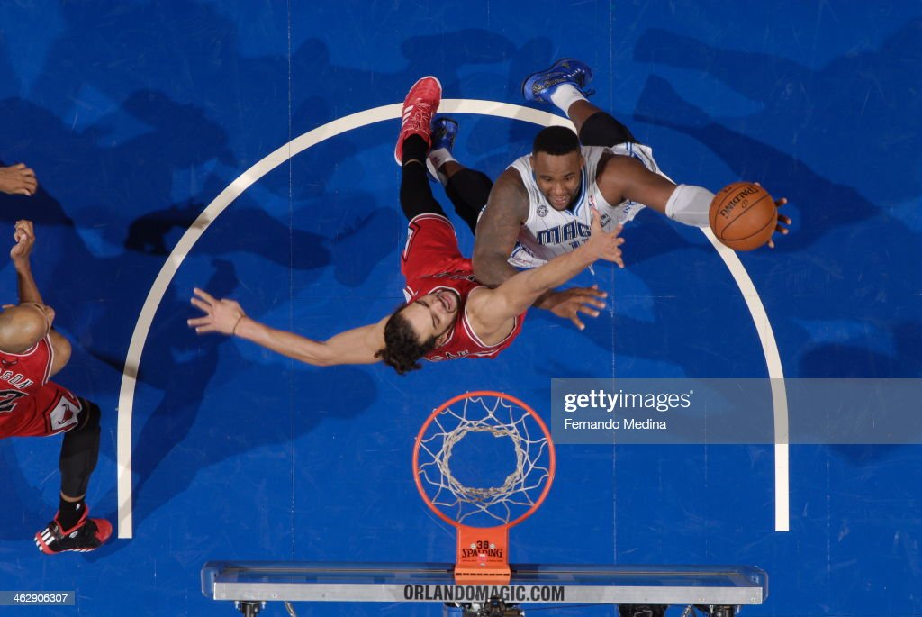 Glen Davis #11 of the Orlando Magic goes up for the layup against the Chicago Bulls Bulls during the game on January 15, 2014 at Amway Center in Orlando, Florida.