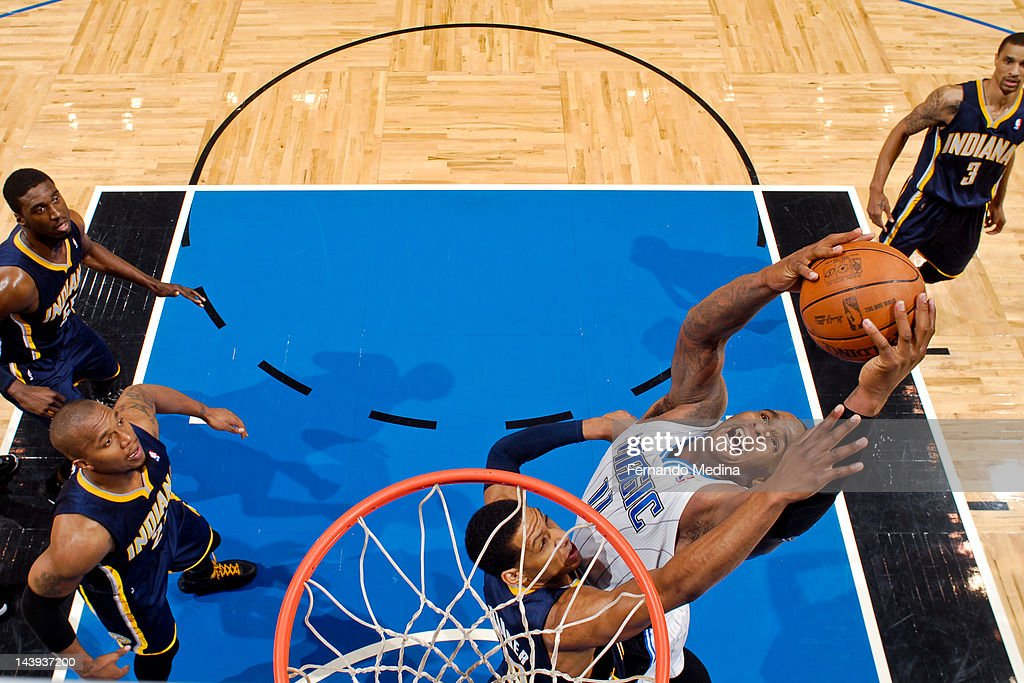 <a gi-track='captionPersonalityLinkClicked' href=/galleries/search?phrase=Glen+Davis+-+Basketball+Player&family=editorial&specificpeople=709385 ng-click='$event.stopPropagation()'>Glen Davis</a> #11 of the Orlando Magic grabs a rebound against <a gi-track='captionPersonalityLinkClicked' href=/galleries/search?phrase=Danny+Granger&family=editorial&specificpeople=553769 ng-click='$event.stopPropagation()'>Danny Granger</a> #33 of the Indiana Pacers in Game Four of the Eastern Conference Quarterfinals during the 2012 NBA Playoffs on May 5, 2012 at Amway Center in Orlando, Florida.