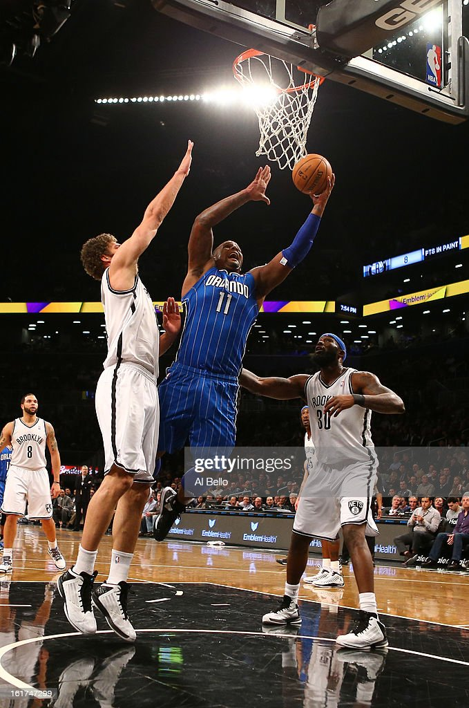 <a gi-track='captionPersonalityLinkClicked' href=/galleries/search?phrase=Glen+Davis+-+Basketballer&family=editorial&specificpeople=709385 ng-click='$event.stopPropagation()'>Glen Davis</a> #11 of the Orlando Magic in action against the Brooklyn Nets during their game at the Barclays Center on January 28, 2013 in the Brooklyn borough of New York City.