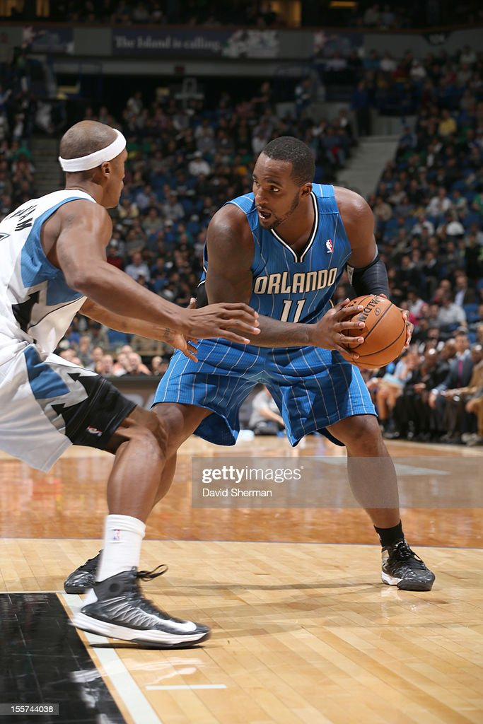 Glen Davis #11 of the Orlando Magic protects the ball during the game between the Minnesota Timberwolves and the Orlando Magic on November 7, 2012 at Target Center in Minneapolis, Minnesota.