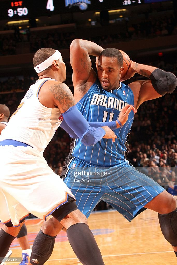 Glen Davis #11 of the Orlando Magic protects the ball during the game between the New York Knicks and the Orlando Magic on January 30, 2013 at Madison Square Garden in New York City .