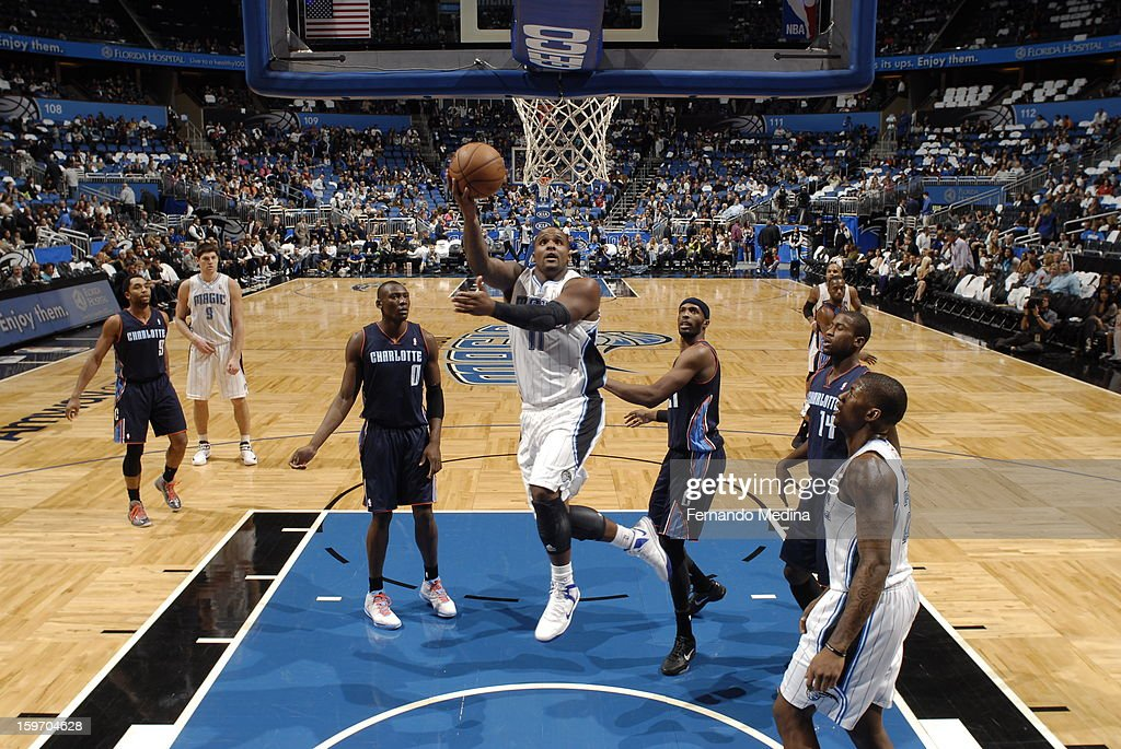 Glen Davis #11 of the Orlando Magic shoots a layup against the Charlotte Bobcats on January 18, 2013 at Amway Center in Orlando, Florida.