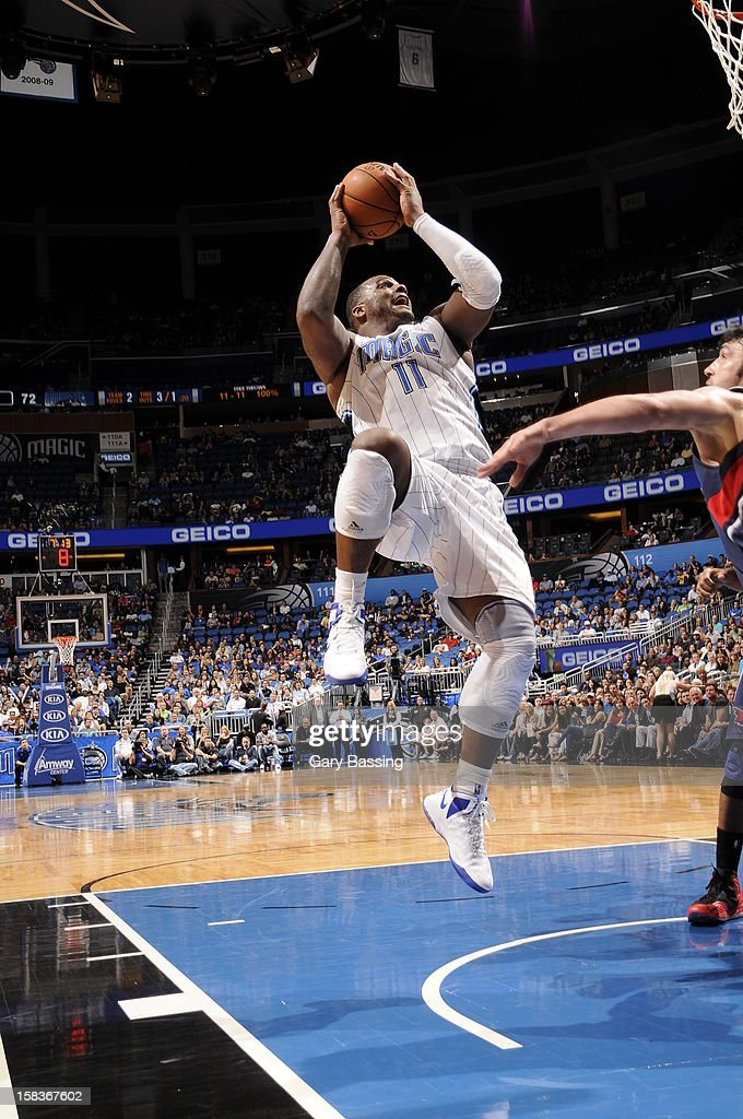 Glen Davis #11 of the Orlando Magic shoots against the Atlanta Hawks on December 12, 2012 at Amway Center in Orlando, Florida.
