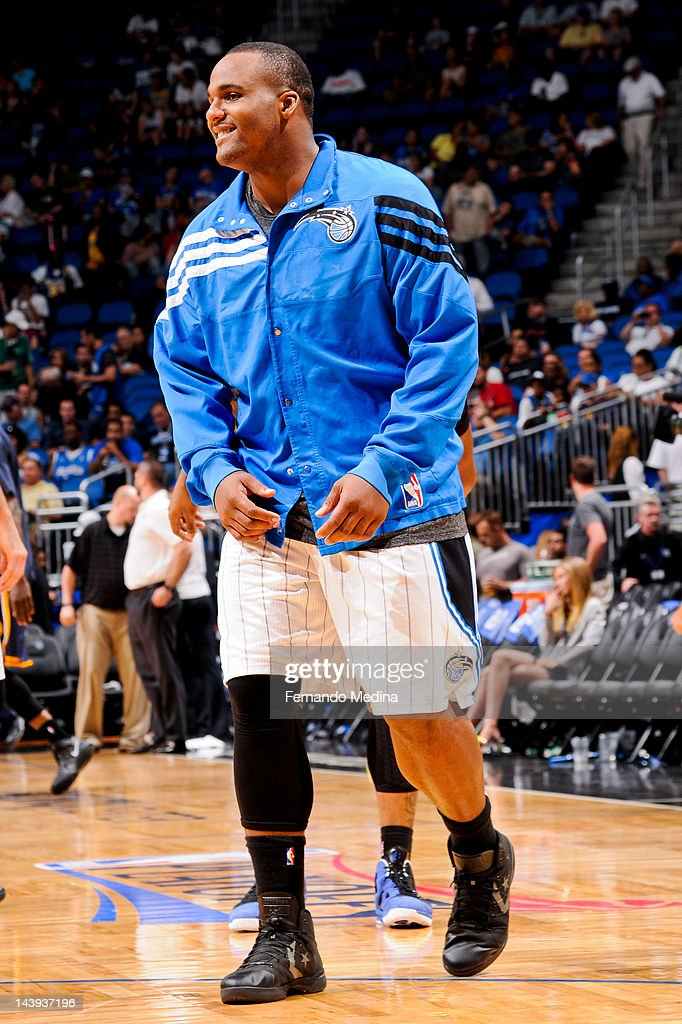 <a gi-track='captionPersonalityLinkClicked' href=/galleries/search?phrase=Glen+Davis+-+Basketball+Player&family=editorial&specificpeople=709385 ng-click='$event.stopPropagation()'>Glen Davis</a> #11 of the Orlando Magic smiles during warm-ups before the second half against the Indiana Pacers in Game Four of the Eastern Conference Quarterfinals during the 2012 NBA Playoffs on May 5, 2012 at Amway Center in Orlando, Florida.