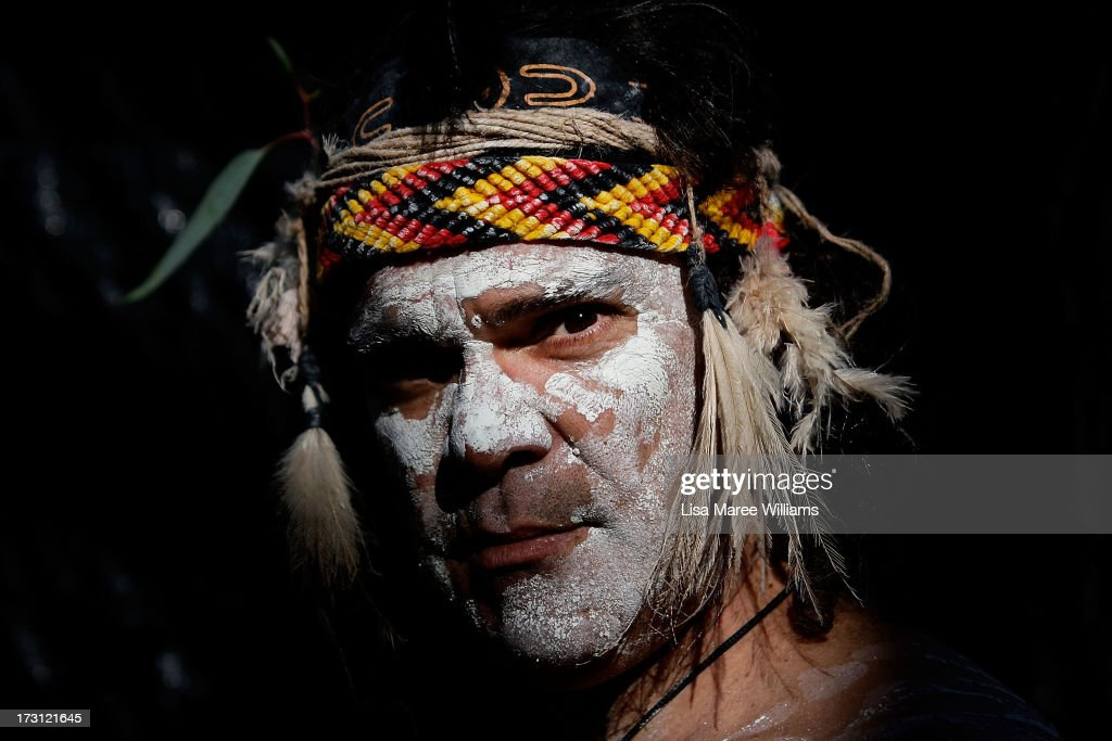 Glen Doyle a member of the Wuriniri Dance Group poses during a public NAIDOC celebration at Hyde Park on July 8, 2013 in Sydney, Australia. NAIDOC is a celebration of Aboriginal and Torres Strait Islander cultures and an opportunity to recognise the contributions of Indigenous Australians.