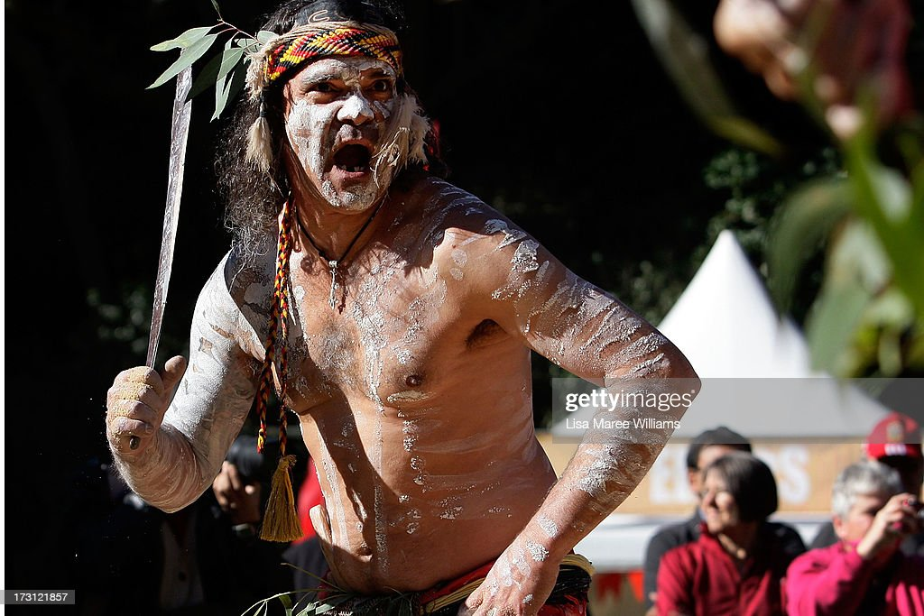 Glen Doyle and Tim Bishop, members of the Wuriniri Dance Group perform during a public NAIDOC celebration at Hyde Park on July 8, 2013 in Sydney, Australia. NAIDOC is a celebration of Aboriginal and Torres Strait Islander cultures and an opportunity to recognise the contributions of Indigenous Australians.