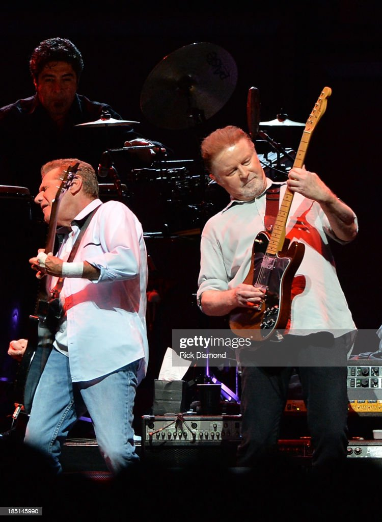 Glen Frey and <a gi-track='captionPersonalityLinkClicked' href=/galleries/search?phrase=Don+Henley&family=editorial&specificpeople=216382 ng-click='$event.stopPropagation()'>Don Henley</a> of the Eagles perform during 'History Of The Eagles Live In Concert' at the Bridgestone Arena on October 16, 2013 in Nashville, Tennessee.