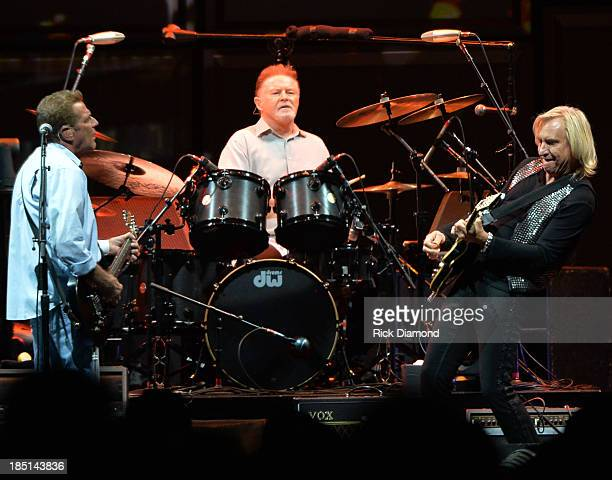 Glen Frey Don Henley and Joe Walsh of the Eagles perform during 'History Of The Eagles Live In Concert' at the Bridgestone Arena on October 16 2013...