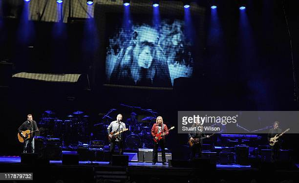 Glen Frey Don Henley Joe Walsh and Timothy Schmidt from rock band 'The Eagles' performs at Hop Farm festival at The Hop Farm on July 1 2011 in...