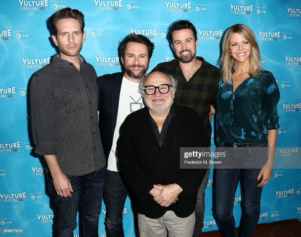 Glen Howerton, Charlie Day, Danny DeVito, Rob McElhenney, and Kaitlin Olson attend the Vulture Festival Los Angeles at the Hollywood Roosevelt Hotel on November 19, 2017 in Hollywood, California.