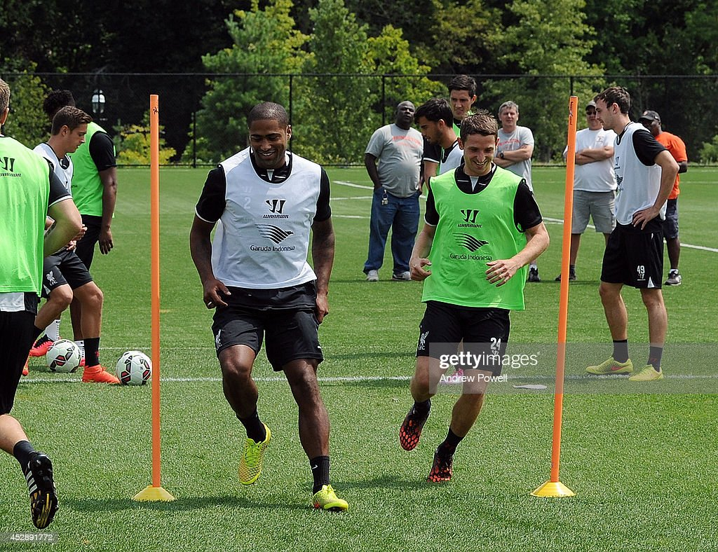 <a gi-track='captionPersonalityLinkClicked' href=/galleries/search?phrase=Glen+Johnson&family=editorial&specificpeople=209192 ng-click='$event.stopPropagation()'>Glen Johnson</a> and Joe Allen of Liverpool in action during a training session at Princeton University on July 29, 2014 in Princeton, New Jersey.