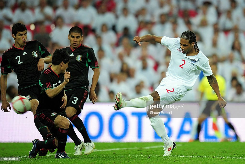 Glen Johnson of England scores his first and England's third during the International Friendly match between England and Mexico at Wembley Stadium on May 24, 2010 in London, England.
