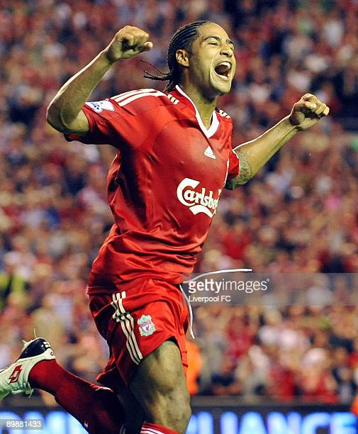 Glen Johnson of Liverpool celebrates after scoring the second goal for Liverpool at Anfield on August 19 2009 in Liverpool England