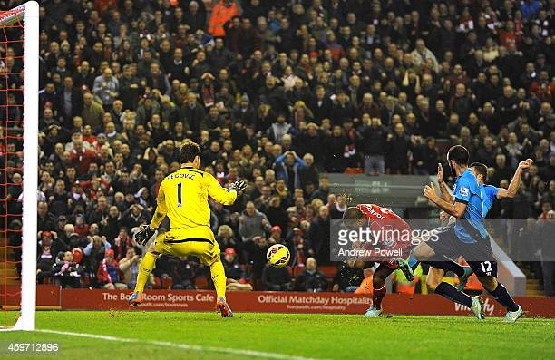 Glen Johnson of Liverpool scores to make it 10 during the Barclays Premier Leauge match between Liverpool and Stoke City at Anfield on November 29...