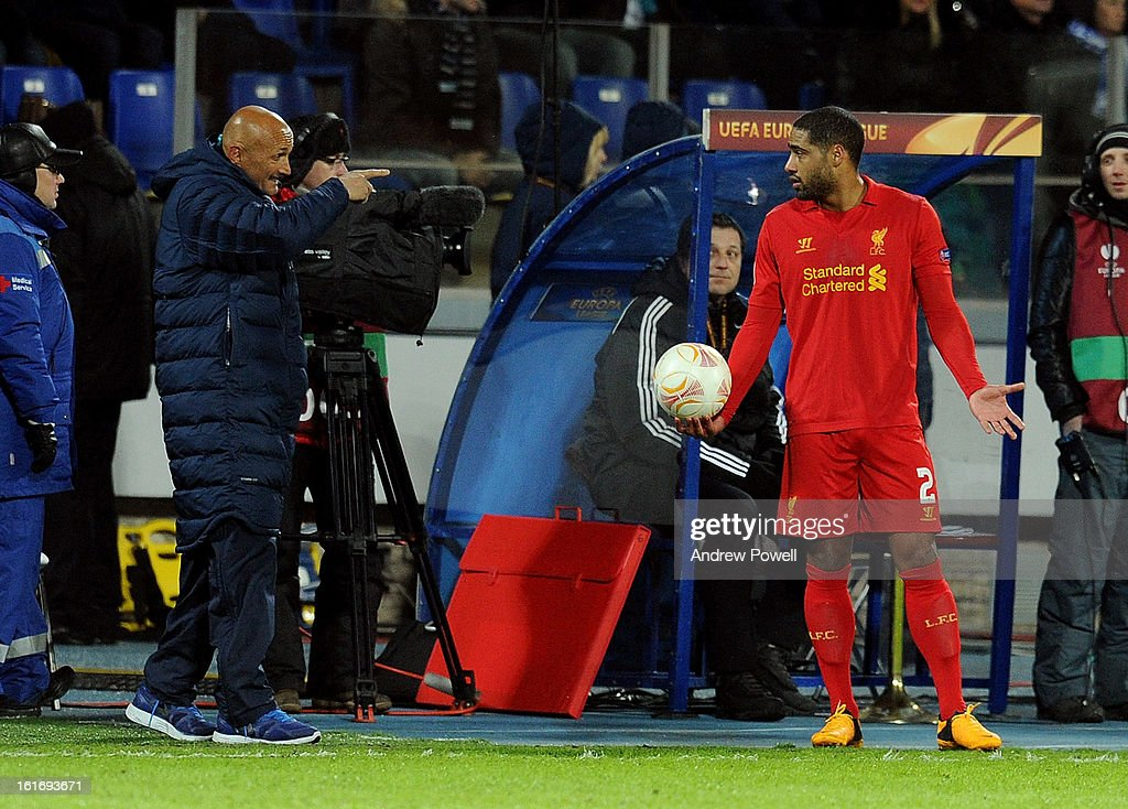 <a gi-track='captionPersonalityLinkClicked' href=/galleries/search?phrase=Glen+Johnson&family=editorial&specificpeople=209192 ng-click='$event.stopPropagation()'>Glen Johnson</a> of Liverpool talks with <a gi-track='captionPersonalityLinkClicked' href=/galleries/search?phrase=Luciano+Spalletti&family=editorial&specificpeople=708667 ng-click='$event.stopPropagation()'>Luciano Spalletti</a> manager of FC Zenit St Petersburg during the UEFA Europa League round of 32 first leg match between FC Zenit St Petersburg and Liverpool on February 14, 2013 in Saint Petersburg, Russia.