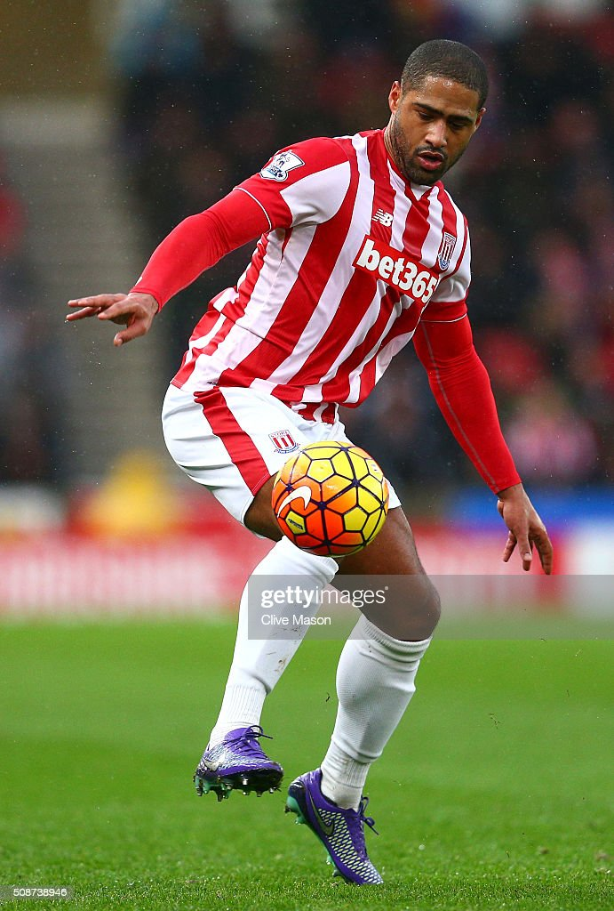 <a gi-track='captionPersonalityLinkClicked' href=/galleries/search?phrase=Glen+Johnson&family=editorial&specificpeople=209192 ng-click='$event.stopPropagation()'>Glen Johnson</a> of Stoke City in action during the Barclays Premier League match between Stoke City and Everton at Britannia Stadium on February 6, 2016 in Stoke on Trentl, England.