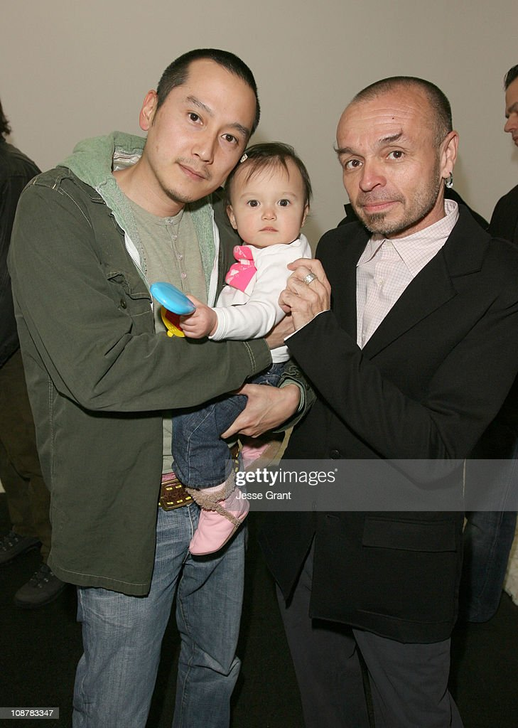 Glen Kaino, baby girl and <a gi-track='captionPersonalityLinkClicked' href=/galleries/search?phrase=Daniel+Hernandez&family=editorial&specificpeople=2157363 ng-click='$event.stopPropagation()'>Daniel Hernandez</a> during VIP reception at LAXART - March 18, 2006 at LAXART in Los Angeles, California, United States.