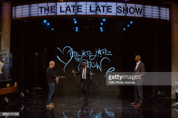 Glen Keane demonstrates illustrating in virtual reality using the Google Tilt Brush with James Corden and Kobe Bryant during 'The Late Late Show with...