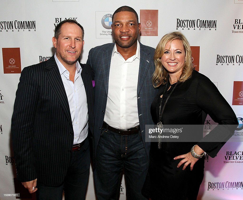 Glen Kelley, Boston Common Publisher, <a gi-track='captionPersonalityLinkClicked' href=/galleries/search?phrase=Doc+Rivers&family=editorial&specificpeople=206225 ng-click='$event.stopPropagation()'>Doc Rivers</a>, Boston Celtics Head Coach and Janice O'Leary, Editor-in-Chief of Boston Common arrive as Boston Common Magazine Celebrates Boston Celtics Star Rajon Rondo at The Liberty Hotel on October 10, 2012 in Boston, Massachusetts.