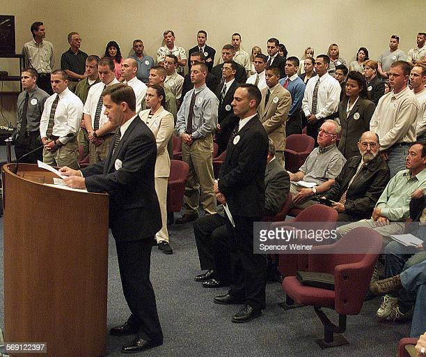 Glen Kitzmann [cq] president of the Ventura County Deputy Sheriffs' Assn addresses the Ventura County Board of Supervisors Monday More than 200...