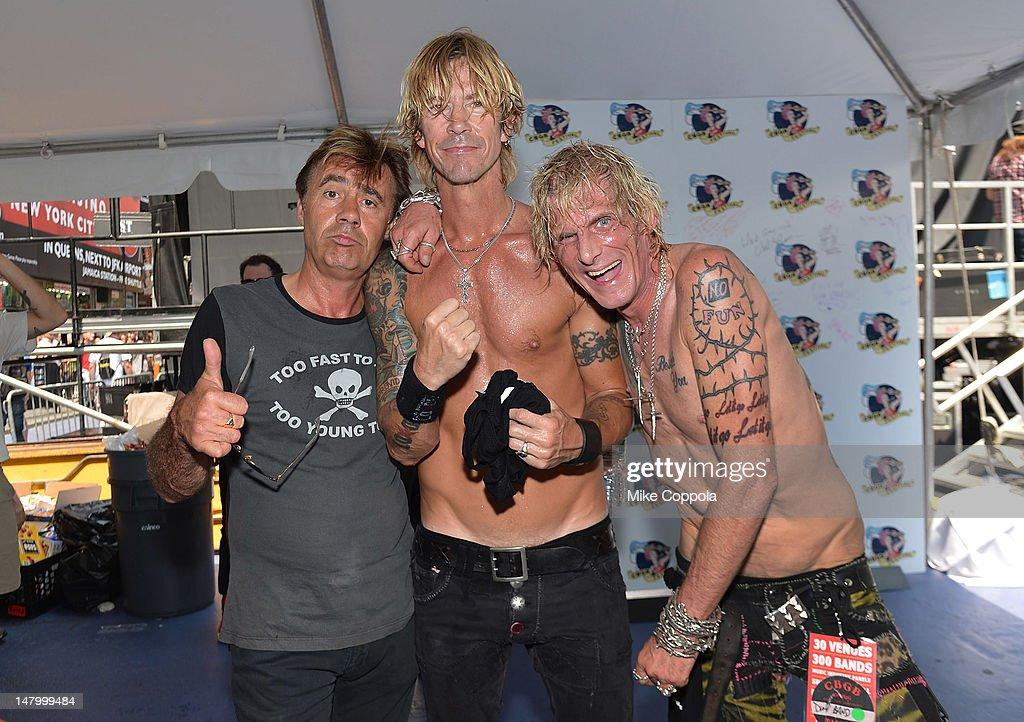 Glen Matlock of the Sex Pistols, Duff McKagan of the band Loaded, and Jimmy Webb of Trash And Vaudeville pose for a picture backstage at the 2012 CBGB Festival on July 7, 2012 in New York City.