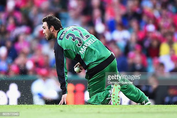 Glen Maxwell of the Stars fields during the Big Bash League match between the Sydney Sixers and the Melbourne Stars at Sydney Cricket Ground on...