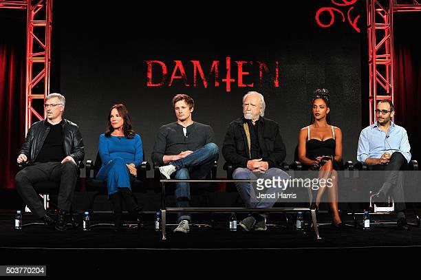 Glen Mazzara creator and executive director and actors Barbara Hershey Bradley James Scott Wilson Megalyn Echikunwoke and Omid Abtahi speak onstage...