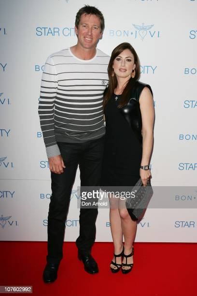 Glen McGrath and Sara Leonardi arrive for an exclusive Bon Jovi concert at Star City on December 15 2010 in Sydney Australia