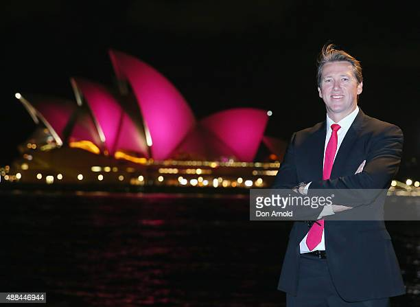 Glen McGrath stands in front of the Sydney Opera House with its sails turned pink to commemorate ten years of placing McGrath Breast Care Nurses in...