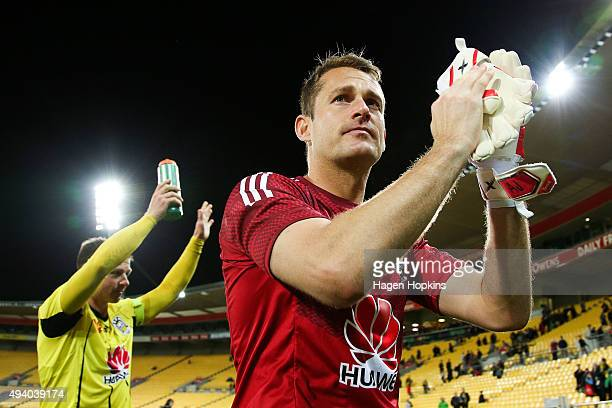 Glen Moss and Ben Sigmund of the Phoenix thanks the crowd after the win during the round three ALeague match between the Wellington Phoenix and the...