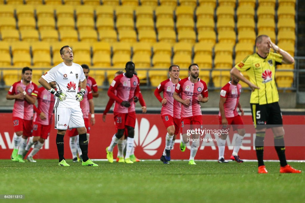 Glen Moss and Ryan Lowry of the Phoenix show their disappointment after a Melbourne goal during the round 20 A-League match between the Wellington Phoenix and Melbourne City at Westpac Stadium on February 18, 2017 in Wellington, New Zealand.