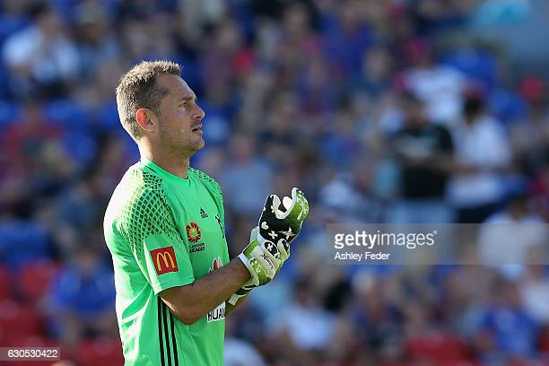 Glen Moss goalkeeper of the Phoenix looks on during the round 12 ALeague match between the Newcastle Jets and the Wellington Phoenix at McDonald...